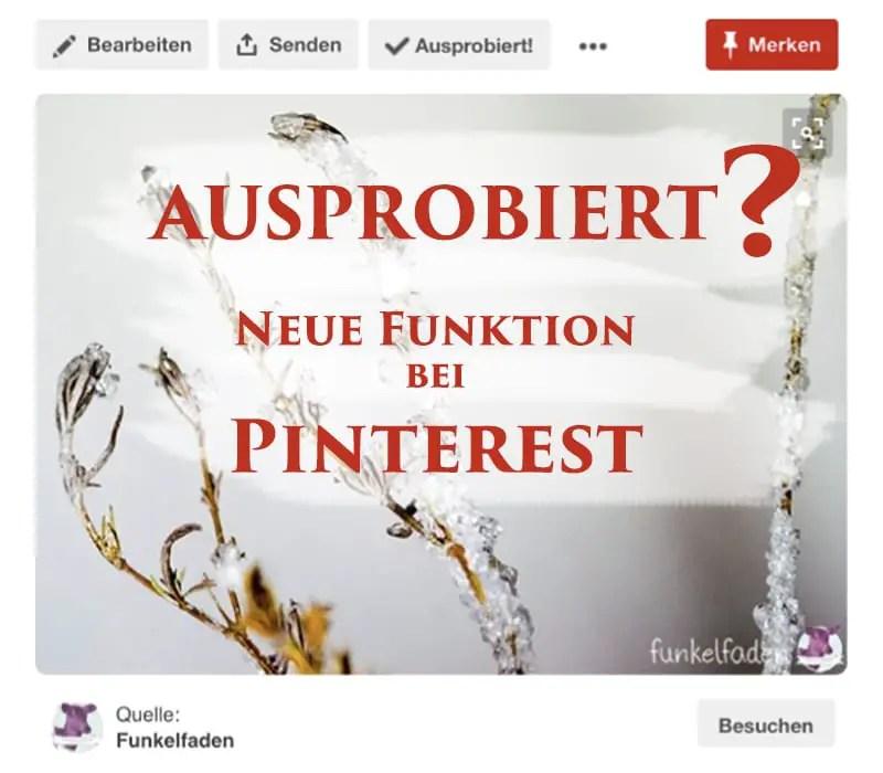 Ausprobiert FUnktion Pinterest
