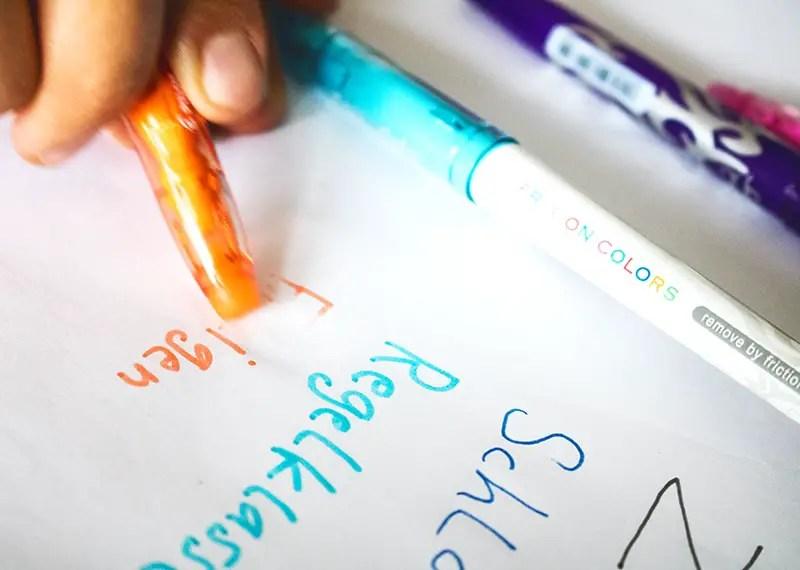 Frixion Stifte von Pilot Ausprobieren oder Wegradieren