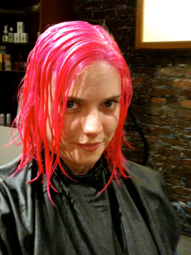 Finally dying my hair pink.