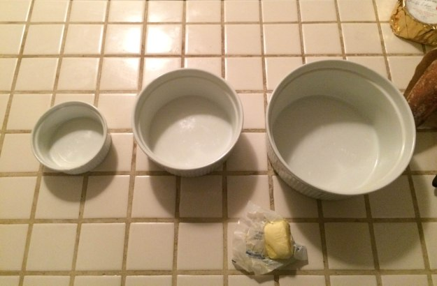 three nesting bowls for a Rice Krispie treat cake