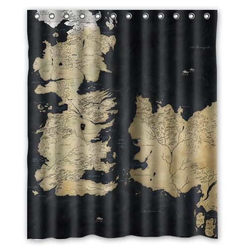 Study this map of Westeros shower curtain while you wash up, and never get lost again.
