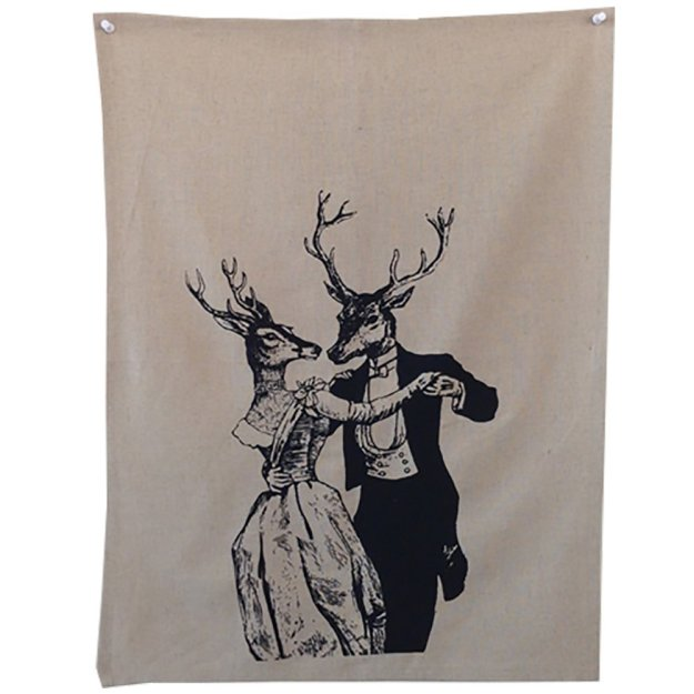 dancing deer tea towel