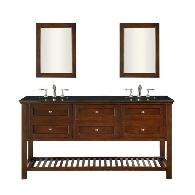 Mission Spa 70 in. Double Vanity in Dark Brown with Granite Vanity Top in Black