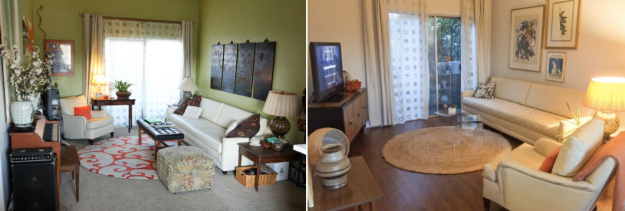 My apartment then v. now
