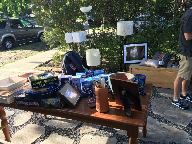 Our garage sale when it was fresh and new. (There were more items down the driveway.)