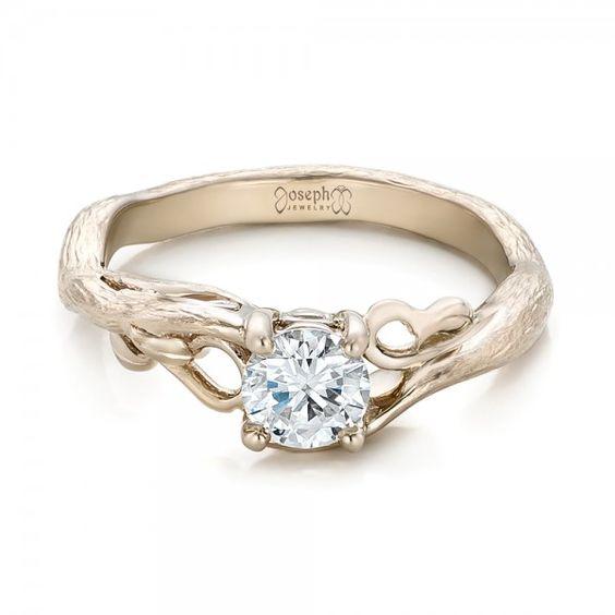 Custom Organic Diamond Solitaire from Joseph Jewelry.