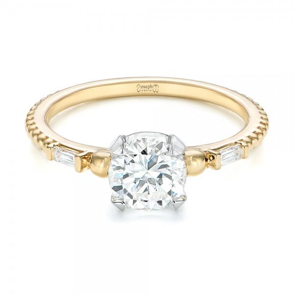 Custom Two-Tone Three Stone Diamond Engagement Ring