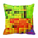 Funky Abstract Checkered Pillow with a Touch of Purple
