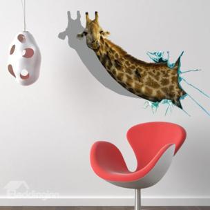 3D Giraffe Wall Decal