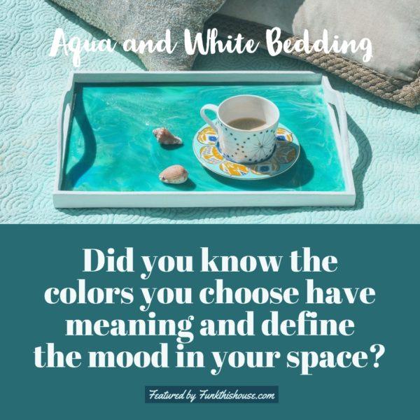 Aqua and White Bedding