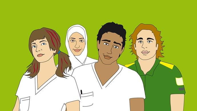 Fyra ungdomar i arbetskläder