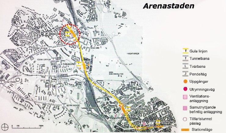 Karta över gula linjens dragning.