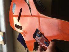 Sirena Modelo Uno Bass freshly finished in transparent orange. Varathane water-based polyurethane.