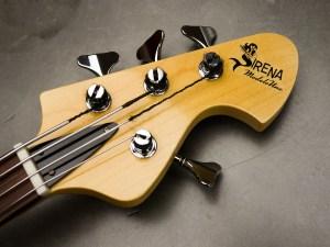 Sirena Modelo Uno Bass in transparent orange. Headstock detail