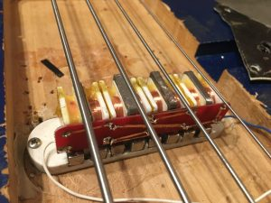 neodymium multi-coil sidewinder bass pickup installed in the test bass. DIY circuit board