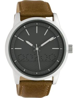 OOZOO Timepieces – C10305 , Silver case with Brown Leather Strap