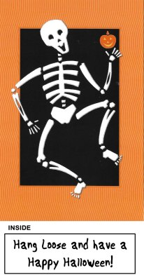 Dancing Skeleton with Pumpkin Card