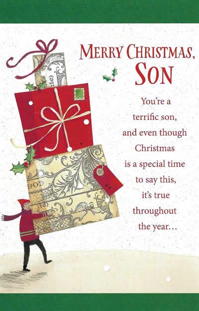Merry Christmas, Son. You're a Terrific Son - Christmas Card