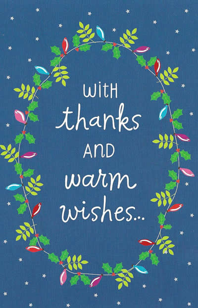 With Thanks Warm Wishes Personalized Holiday Thank You Card