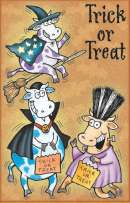 Vampire Cows Halloween Card - Glitter Bomb Card Style