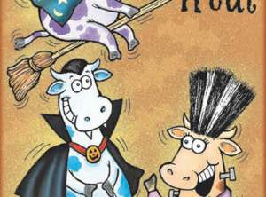 Vampire Cows Halloween Card - Glitter Bomb Card Style