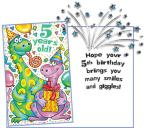 Fun Dinosaur Birthday for 5 Year Old - Confetti Card