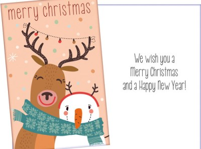 Reindeer and Snowman Christmas Card - Add Confetti for Fun
