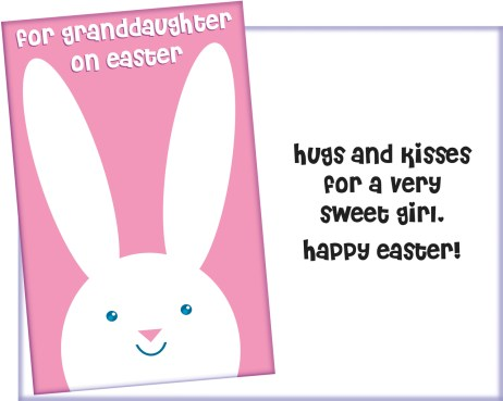For Granddaughter on Easter Card - Fun Glitter Card