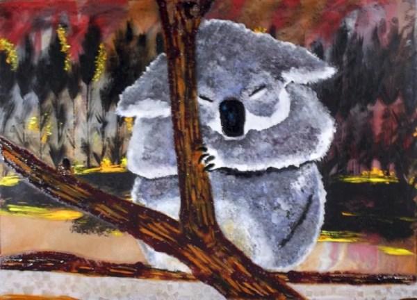 Enamel Painting of Koala by Dori Settles