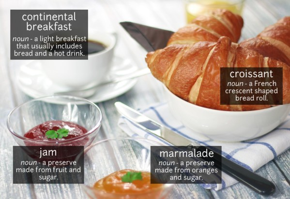 continental breakfast vocabulary
