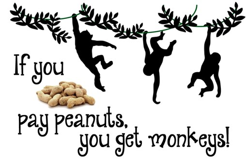 if you pay peanuts you get monkeys
