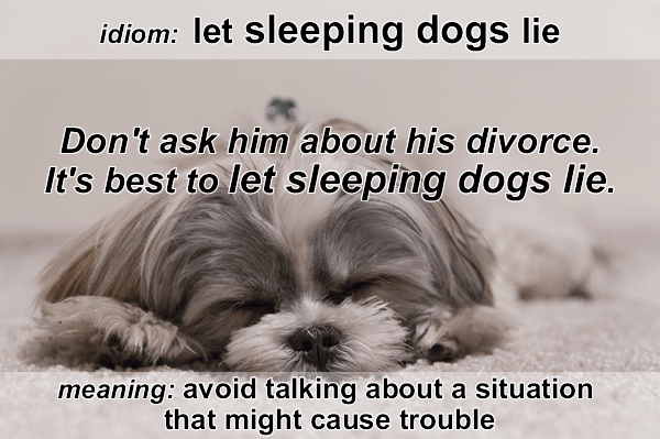 Idiom - Let sleeping dogs lie