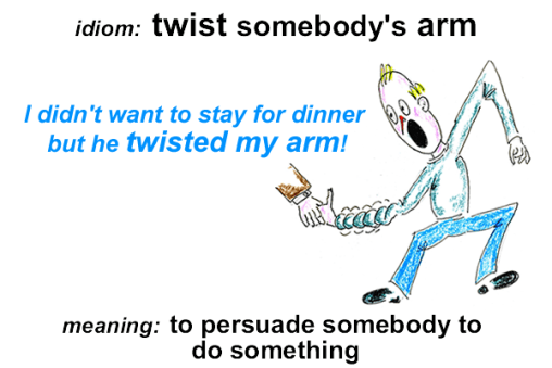 Idiom - twist my arm