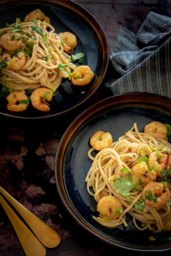 Spaghetti met kerrie & garnalen