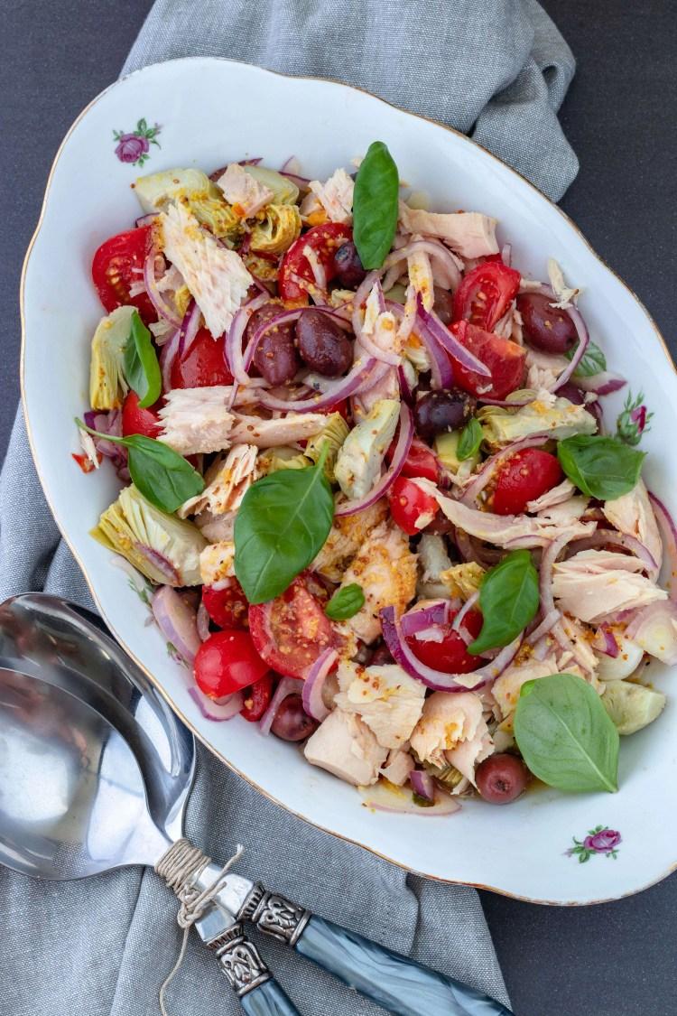 Mediterraanse tonijnsalade met artisjok & olijven
