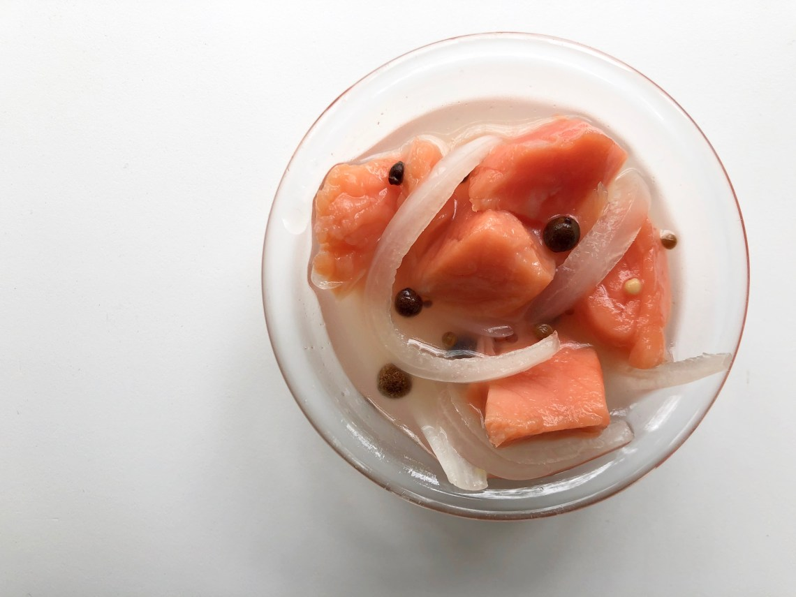 Pickled Salmon in a Bowl