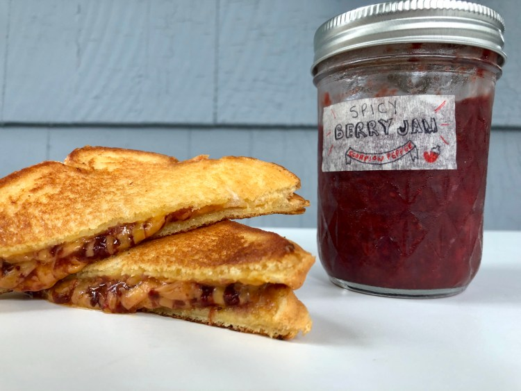 Grilled Cheese with Spicy berry jam jar