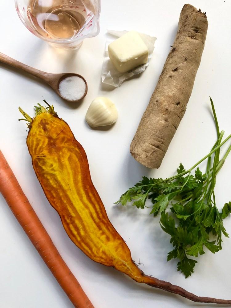 braised burdock, beet, and carrots recipe ingredients