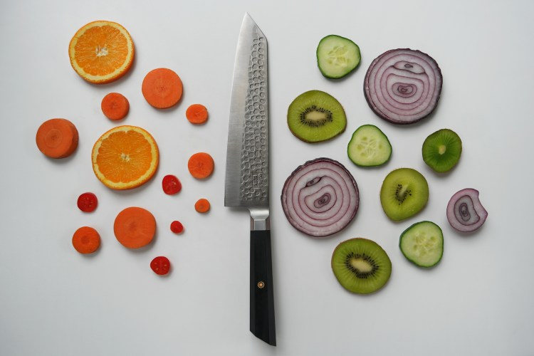 kotai chef knife with slice fruit and vegetable circles
