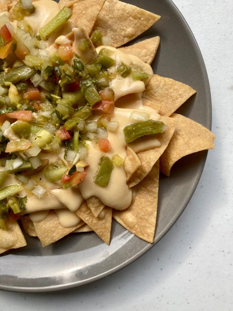cheesy nachos with cactus salsa recipe