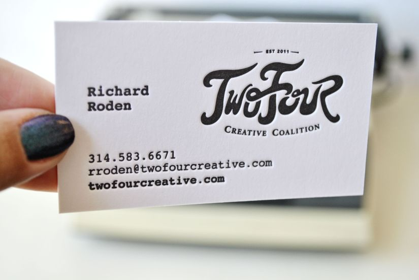 letterpress business cards for TwoFour Creative Coalition