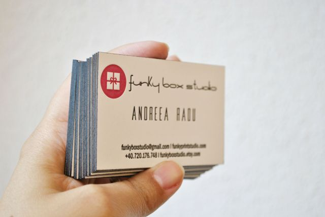 letterpress business cards with edge painting