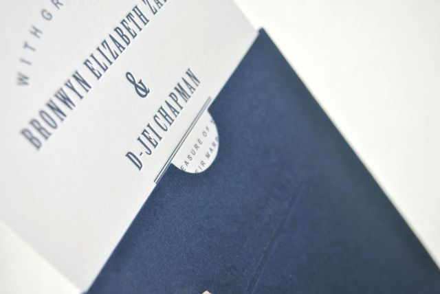navy blue letterpress wedding invitations