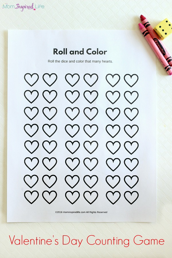 Roll And Color Valentines Day Counting Game