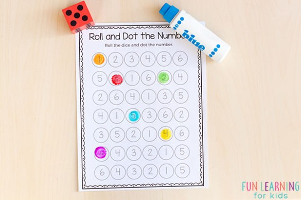 Printable Number Sense Activities Roll and dot the number game