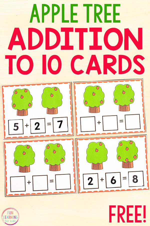 Free printable apple addition within ten activity for kindergarten and first grade.