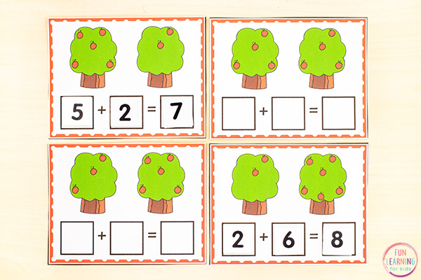 Free printable fall apple addition activity for kindergarten and first grade.