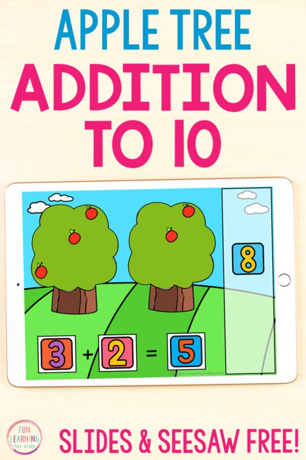 An addition to 10 math activity for your apple theme. Use on Google Slides or Seesaw.