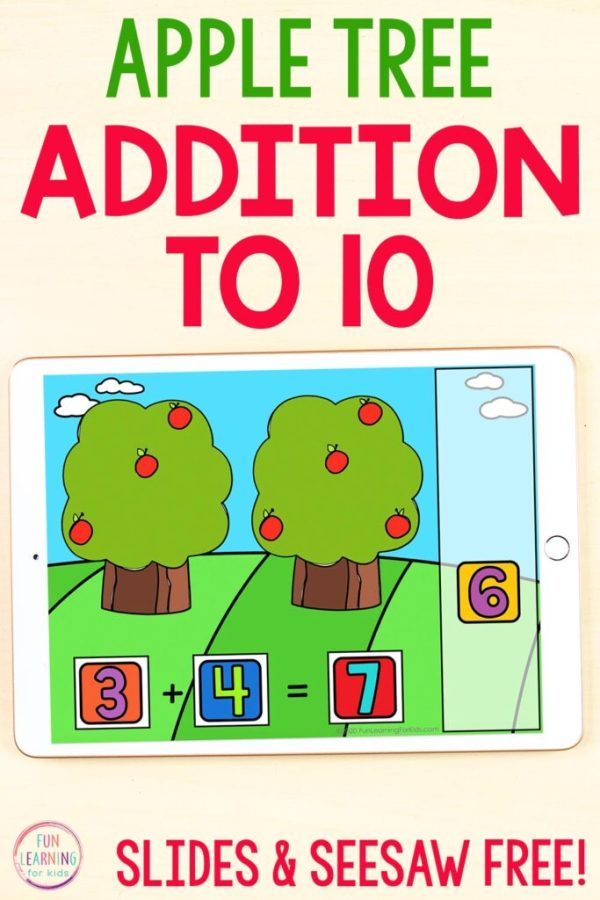 Free apple theme math activity for Google Slides and Seesaw. Students count apples on two trees and add together. Then drag number tiles over to make the matching number sentence.