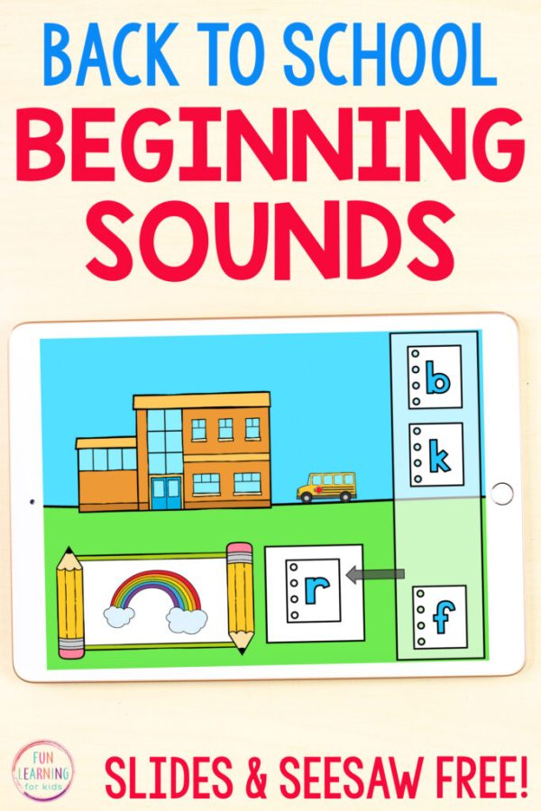 Back to school theme alphabet activity on an iPad. Use it on Google Slides or Seesaw.